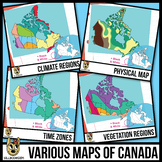 Maps of Canada Clipart: Climate, Physical, Time Zones, & V