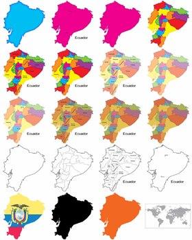 Maps of Ecuador: Clip Art Map Set