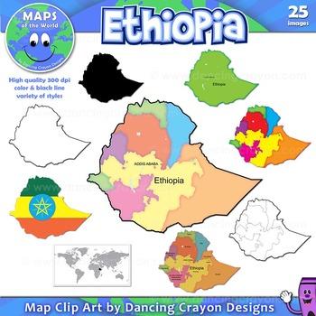 Maps of Ethiopia: Clip Art Map Set