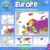 Maps of Europe: Clip Art Map Set