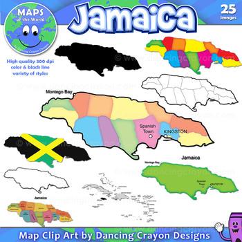 maps of jamaica clip art map set