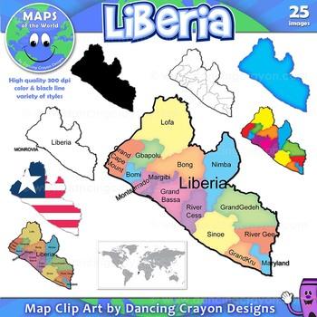 Maps of Liberia: Clip Art Map Set