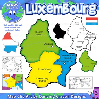 Maps of Luxembourg: Clip Art Map Set
