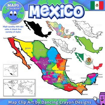 Maps Of Mexico Clip Art Map Set By Maps Of The World Tpt