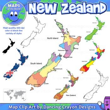 Maps of New Zealand: Clip Art Map Set