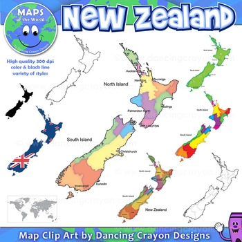 Maps of New Zealand: Clip Art Map Set