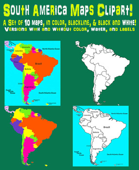 South America Maps Clipart