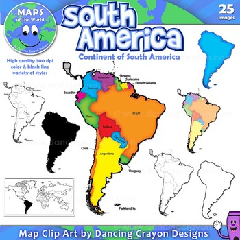 Maps of South America (Continent): Clip Art Map Set