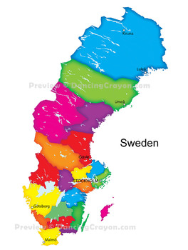 Maps of Sweden: Clip Art Map Set