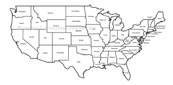 Maps of the USA and US States: Black and White Bundle