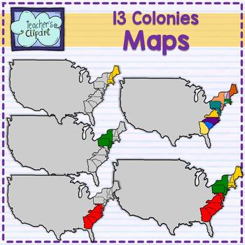 Maps of the 13 colonies clipart {Social Studies clip art}