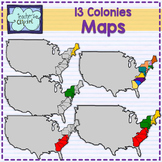 Maps of the 13 colonies clipart {Social Studies clip art}