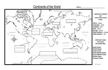 Maps of the Continents of the World For Students to Label and Colour/Color