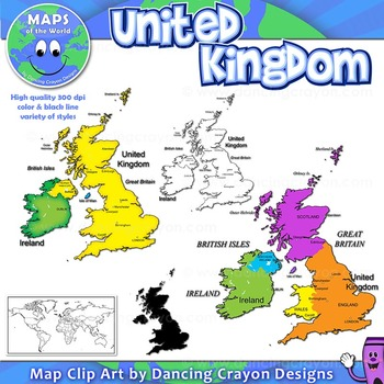 Maps of the United Kingdom: UK Clip Art Map Set