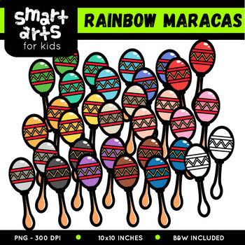 Rainbow Maracas Clip Art
