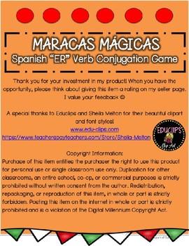 "Maracas Mágicas- Present Tense ""ER"" Verb Conjugation Game"