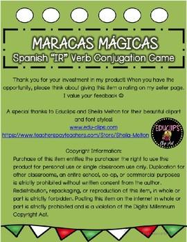 "Maracas Mágicas- Present Tense ""IR"" Verb Conjugation Game"