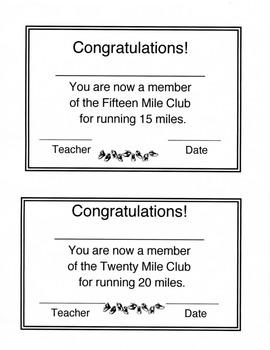 Mileage Lap Cards - Run a Marathon for PE - Fitness Motivator