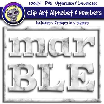 Marble Clip Art Alphabet Letters & Frames