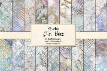 Marble Art Deco Digital Paper, textures, printable backgrounds