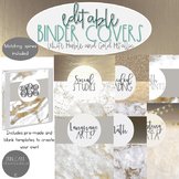 Marble Binder Covers - Marble and Gold Metallic - Editable