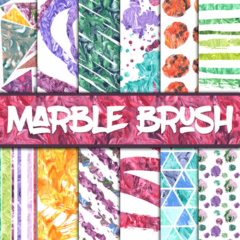 Marble Brush Digital Paper Pack - Paintbrush Strokes - 12 Papers - 12 x 12