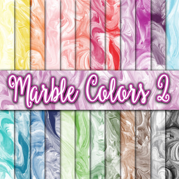 Marble Color Textures Set 2 - Digital Paper Pack - 24 Different Papers - 12 x 12