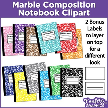 Marble Composition Notebook Rainbow Colors 14 Piece Set Clipart Clip Art