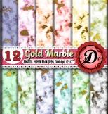 Marble Digital Paper, Golden Marble Textures wrap paper, S