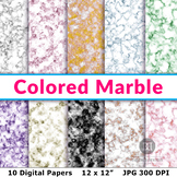 Marble Digital Papers, Colored Marble Patterns, Marble Backgrounds