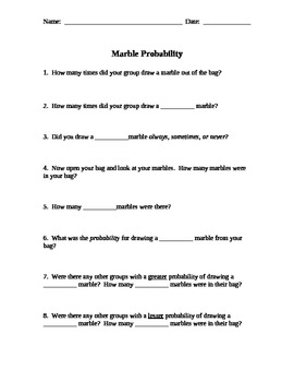 Marble Draw:  Probability Activity