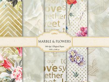 Marble & Flowers Digital Paper
