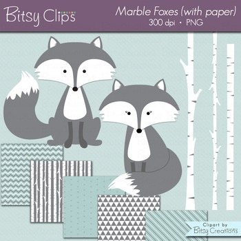 Marble Fox Clipart with Digital Scrapbook Paper INSTANT DOWNLOAD Digital Art Set