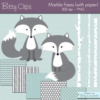 Marble Fox Clipart with Digital Scrapbook Paper INSTANT DOWNLOAD Digital Art Set