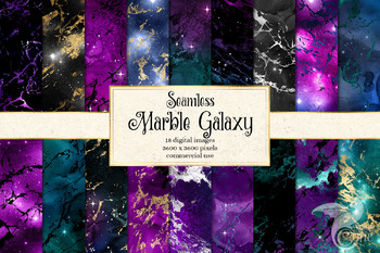 Marble Galaxy digital paper, watercolor paint night sky backgrounds, textures