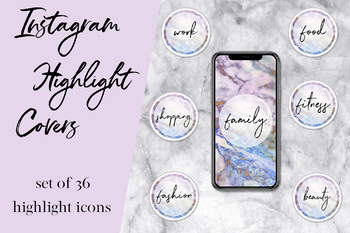 Marble Instagram Story Highlight Icons, Instagram Story Covers, Text Icons