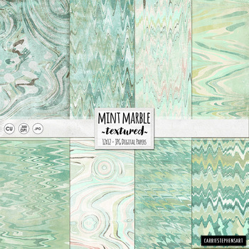 Marble Mint Green Digital Papers