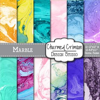 Marble Pastel Swirls Digital Paper 1177