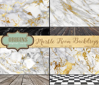 Marble Photo Backgrounds digital paper, white black gold marble room backdrops