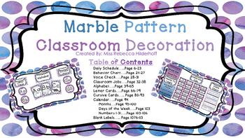 Marble Print Classroom Decoration