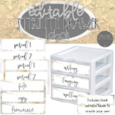 Marble Sterilite Drawer Labels (Editable) - Marble and Gold Metallic