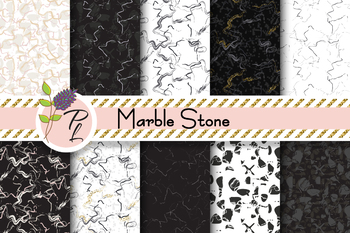 Marble Stone Patterns Seamless Pattern Set. Digital paper pack.