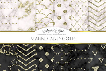 Marble Textures Digital Paper Background Marble and gold patterns.