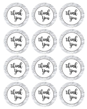 Marble Thank You Labels/Tags - 12 Circles