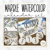 Marble Watercolor Classroom Calendar Set