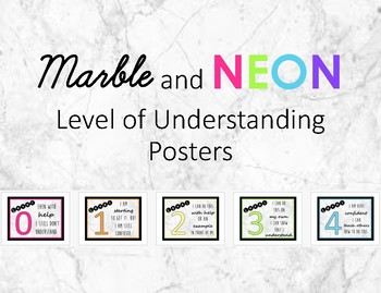 Marble and Neon Levels of Understanding Posters