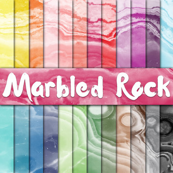 Marbled Rock Textures - Digital Paper Pack - 24 Different Papers - 12 x 12
