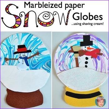FREE Winter Activity - Shaving Cream Marbleized Paper Snow