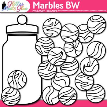 Marbles Clip Art | Compliment Jar Ideas for Classroom Community | B&W