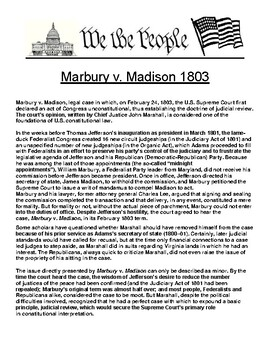 Marbury v. Madison 1803 Article and Assignment